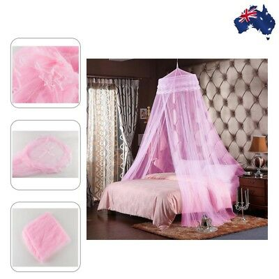Bedroom Mosquito Net Holder Bed Canopy Netting Canopy Drape Stand Round Pink
