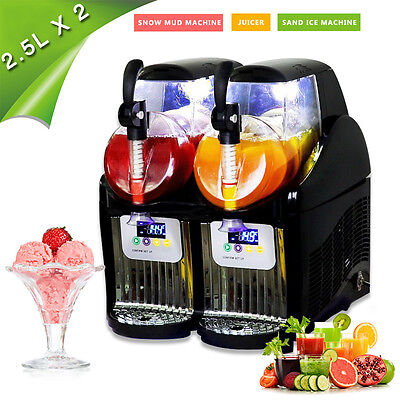 2*2.5L 110V Tank Commercial Frozen Drink & Slush Make Machine Smoothie Ice Maker