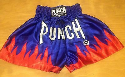 Punch AAA Blue Red Flame Satin Muay Thai Kickboxing MMA Shorts Trunks Large Used