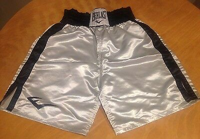 Everlast Silver Black Satin Boxing Shorts Men's Size Large L Good Used Condition