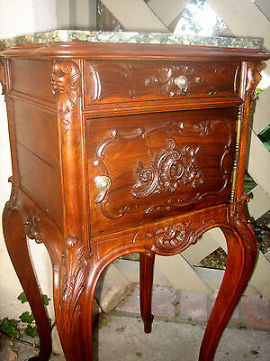 French Nightstand  Louis Xv Marble Top , Solid Hand Carved Walnut