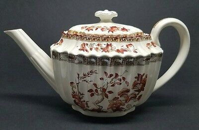 Large COPELAND SPODE India Tree Teapot w Lid Straight Spout Rust Color OLD MARK