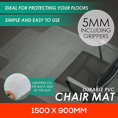 pNew Chair Mat Vinyl Protector Carpet Floor Office Computer Work PVC 1500x900mm