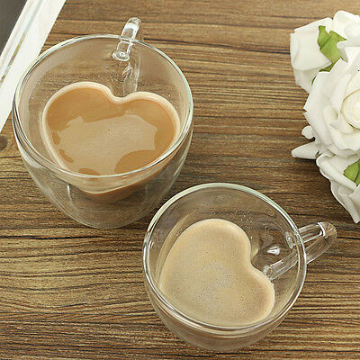 Heart Latte Glasses Tea Coffee Cappuccino Glass Cups Hot Drink Mugs180/240ml