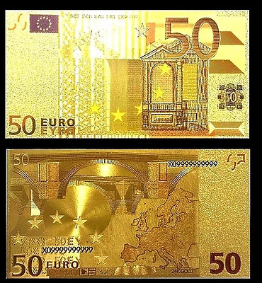 Billet plaqué OR 24 K Couleur - Billet de 50 Euros