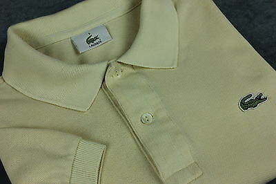 LACOSTE Men's Short Sleeve Cream Cotton Polo T-Shirt [SIZE 5 or ~LARGE]