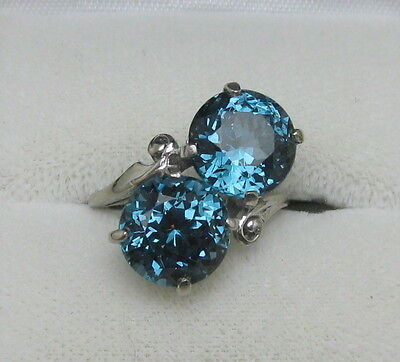 ART DECO 1930's ANTIQUE DOUBLE CROSSOVER BLUE SPINEL 10K WHITE GOLD RING