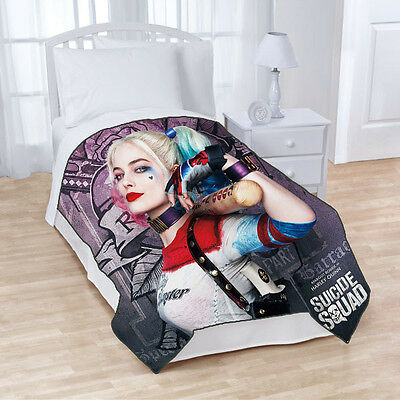 New Suicide Squad Margot Robbie Harley Quinn Fleece Throw