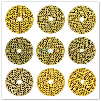 "100mm 4"" Wet/Dry Diamond Polishing Pads for Granite Marble 9 Pad set Grits HB"