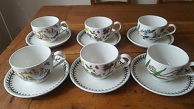 PORTMEIRION BOTANIC GARDEN SET of 6 TRADITIONAL CUPS AND SAUCERS