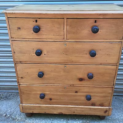 Large 19th Century Stripped Pine Chest Of Drawers