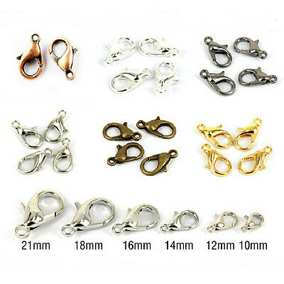 50/100Pcs Alloy Lobster Claw Clasp Hooks Jewelry Findings 6 Colors 10/12/14/16mm