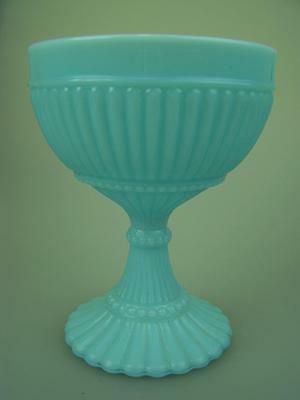 Blue milk glass comport compote c1940's