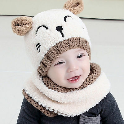 Hottest Kids Baby Boys Hat Knitted Winter Hooded Cap with Scarf Tie up Warmer