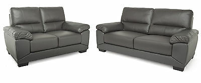 Daytona Grey 3 Seater & 2 Seater Leather Sofa Couch Settee Package Lounge Living