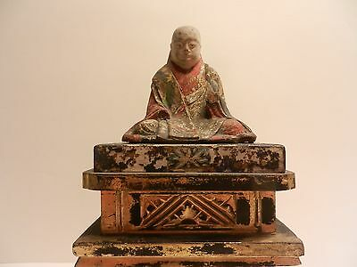 Antique Japanese Edo Jizo Bosatsu bodhisattva Wood Carving ( Circa 1681 ) Signed