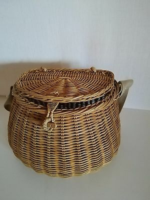 Ancien Panier De Peche En Osier  Vannerie Old Fishing Wicker Basket Pp1