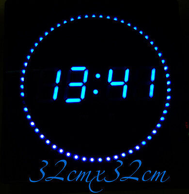LED Digital Wall Clock with datum-&temperaturanzeige noiselessly in Blue