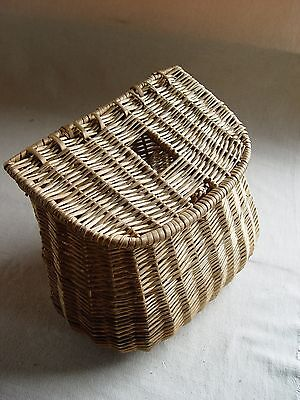 Ancien Panier De Peche En Osier  Vannerie Old Fishing Wicker Basket Pp5