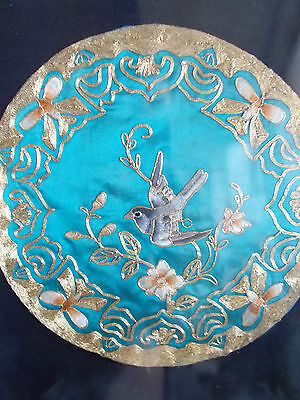 Exquisite Vintage Embroidery Panel,chinese Bird Gold Metal Work On Silk Framed