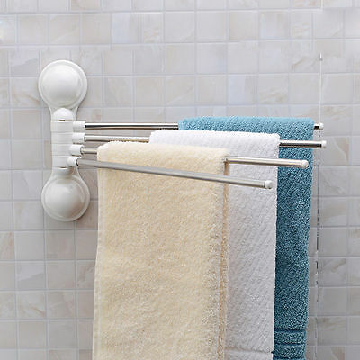 Bathroom Suction Towel Rail Rack Bar Stainless Steel Hanger 180°Rotation