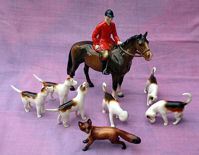 Beswick huntsman, six hounds and fox