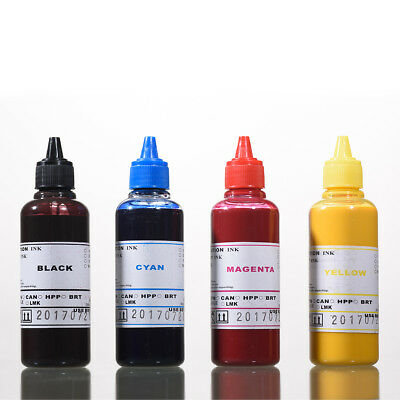 4 New Universal Printer Refill Ink dye Bottles for CISS or Refillable Cartridge