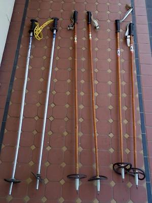 3 x Pairs Vintage LLL Brand Cross Country Ski Poles Norway Made Leather Straps