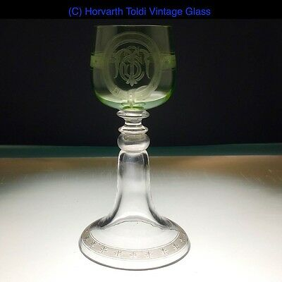 Victorian Uranium Bowl Wine Glass Roemer 1880