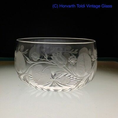 Victorian Jacobite Significance Rose & Flower Engraved Water Glass Bowl 1870
