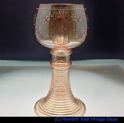 1870 Victorian Gold Tinted Armorial Large Wine Roemer Glass