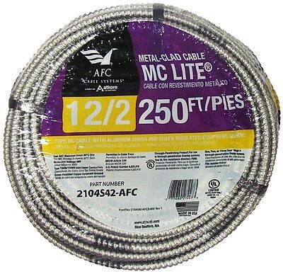 AFC Cable Systems 12/2 X 250' Solid MC Lite Cable Aluminum Armored Grounded NEW!