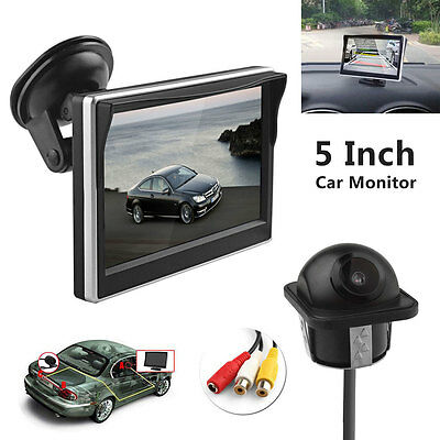 Waterproof Car Camera + 5 Inch TFT-LCD 2CH Car Rear View Monitor + Suction cup