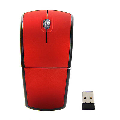 2.4Ghz Wireless Optical Arc Folding Scroll Wheel Mouse Red Mice For PC Laptop