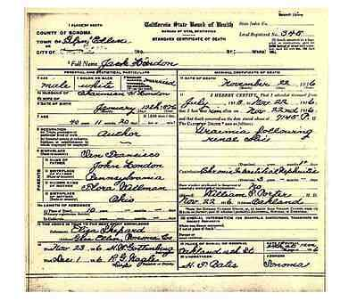 Jack London DEATH CERTIFICATE Author Call of the Wild, Alaska Gold Rush explorer