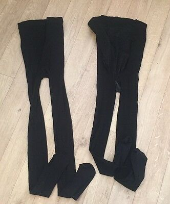 Two Pairs Of Mothercare Maternity Over Bump Tights Size Medium / Large