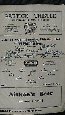 Partick Thistle v Dundee 1949-50 programme - Autographed by Partick team.
