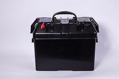 Marine12V Leisure Battery Carrier Box 2 Usb Chargers 1 12V Outlets Boat Caravan