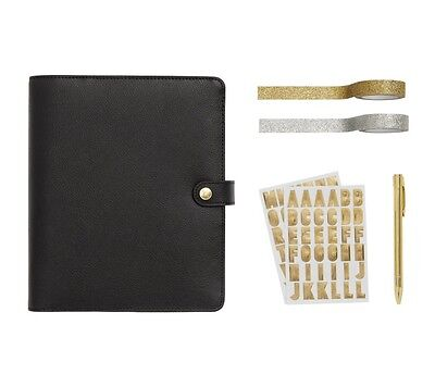 Kikki K Large Black Leather Personal Planner Gift Set A5