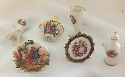 Limoges France Minature Plates, Basket, Vases And Urn .  In Ex. Cond. 6 Pieces