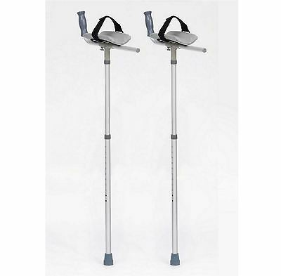 Pair of Forearm Padded Platform Trough Height Adjustable Crutches For Arthritis