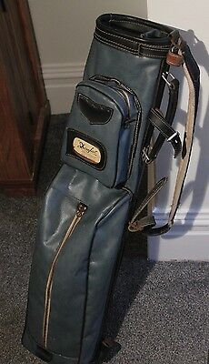 Vintage DOUGLAS Golf Bag - Lightweight - 83cm - Blue Leather with handles & Zips