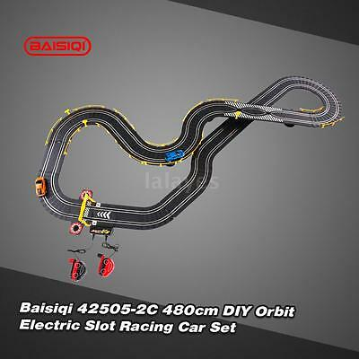 Cool Baisiqi 42505-2C Two Slot Racing Car DIY Orbit Set Self-assembled Toys Y0T0