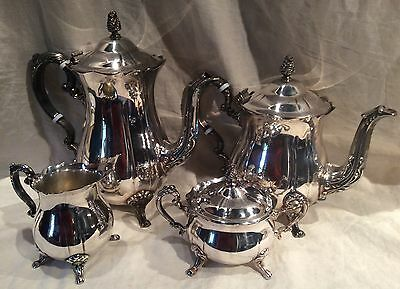 Beautiful 4 Piece Silverplate Tea Set Leonard Teapot Coffeepot Creamer Sugar