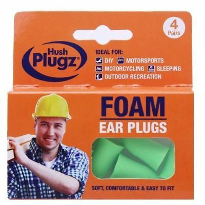 Hush Plugz Foam DIY Ear Plugs 4 Pairs 1 2 3 6 12 Packs