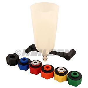 8pc Oil Funnel & Adaptor Set Fast 6 Coloured Adaptors Angle Extension Funnel