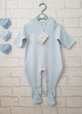 Baby Boys Gorgeous Blue Knitted Boutique Romper Suit