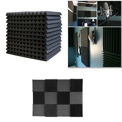 12Pk Acoustic Wall Panels Sound Proofing Wedge Deadening Foam Material Tiles