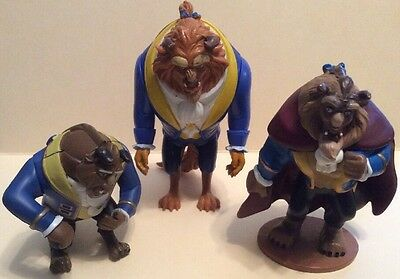 "Lot of 3Disney's Beauty And The Beast ""Beast"" Action Figures, Cake Toppers, Toys"