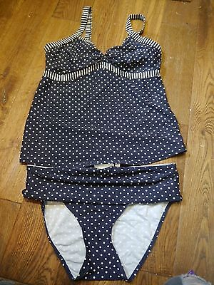 jojo maman bebe maternity navy blue and white polka dot tankini size 12 14 M
